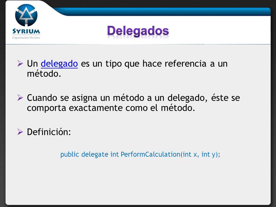 Delegados Un delegado es un tipo que hace referencia a un método.