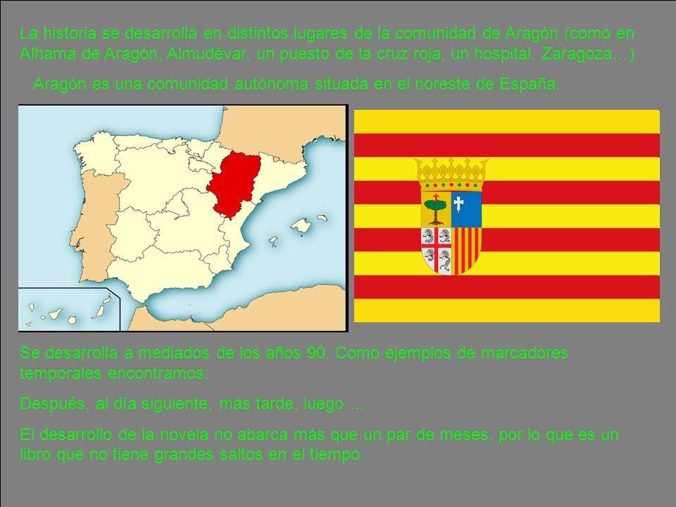 La historia se desarrolla en distintos lugares de la comunidad de Aragón (como en Alhama de Aragón, Almudévar, un puesto de la cruz roja, un hospital, Zaragoza…)