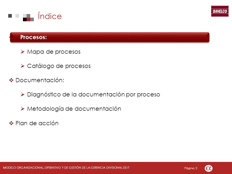 Índice Procesos: Mapa de procesos Catálogo de procesos Documentación: