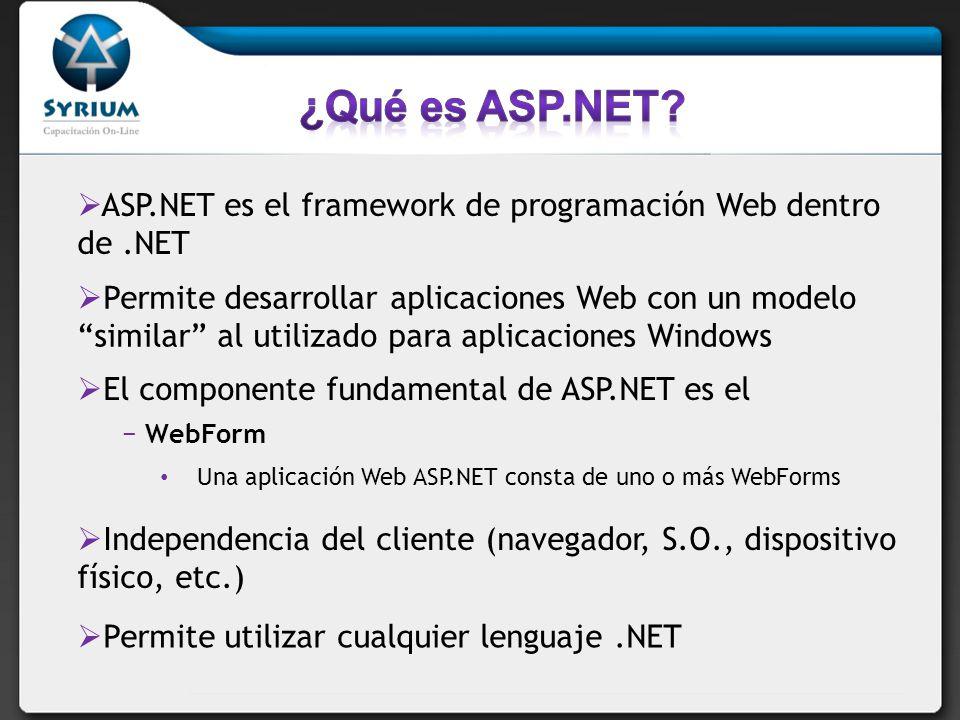 ¿Qué es ASP.NET ASP.NET es el framework de programación Web dentro de .NET.