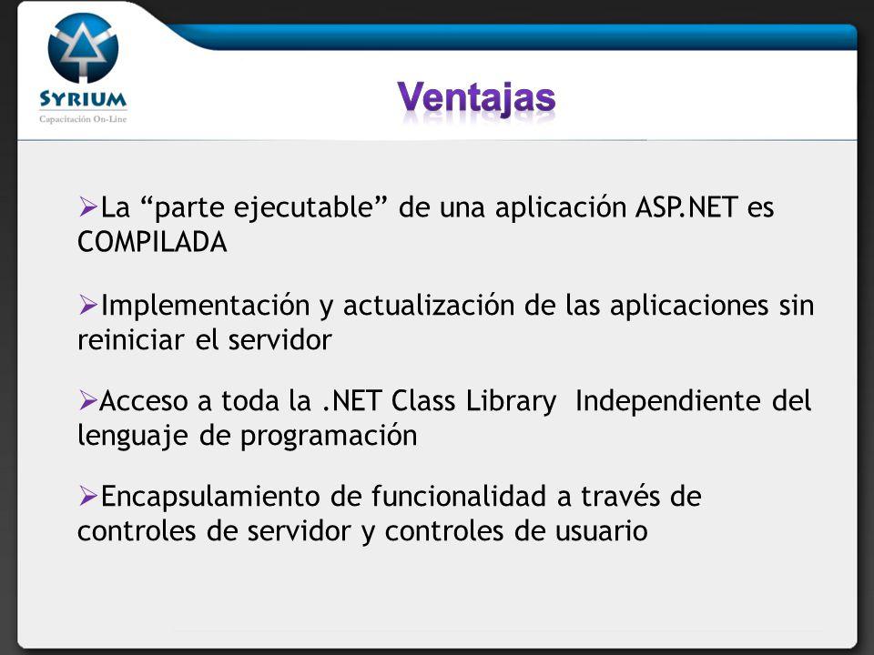 Ventajas La parte ejecutable de una aplicación ASP.NET es COMPILADA