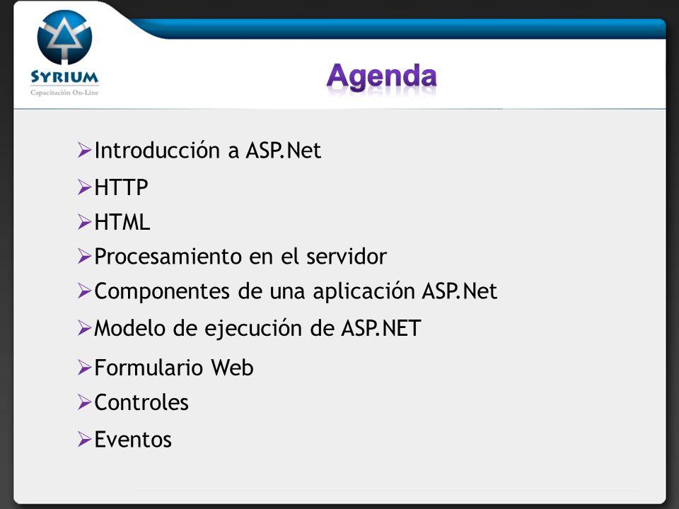 Agenda Introducción a ASP.Net HTTP HTML Procesamiento en el servidor