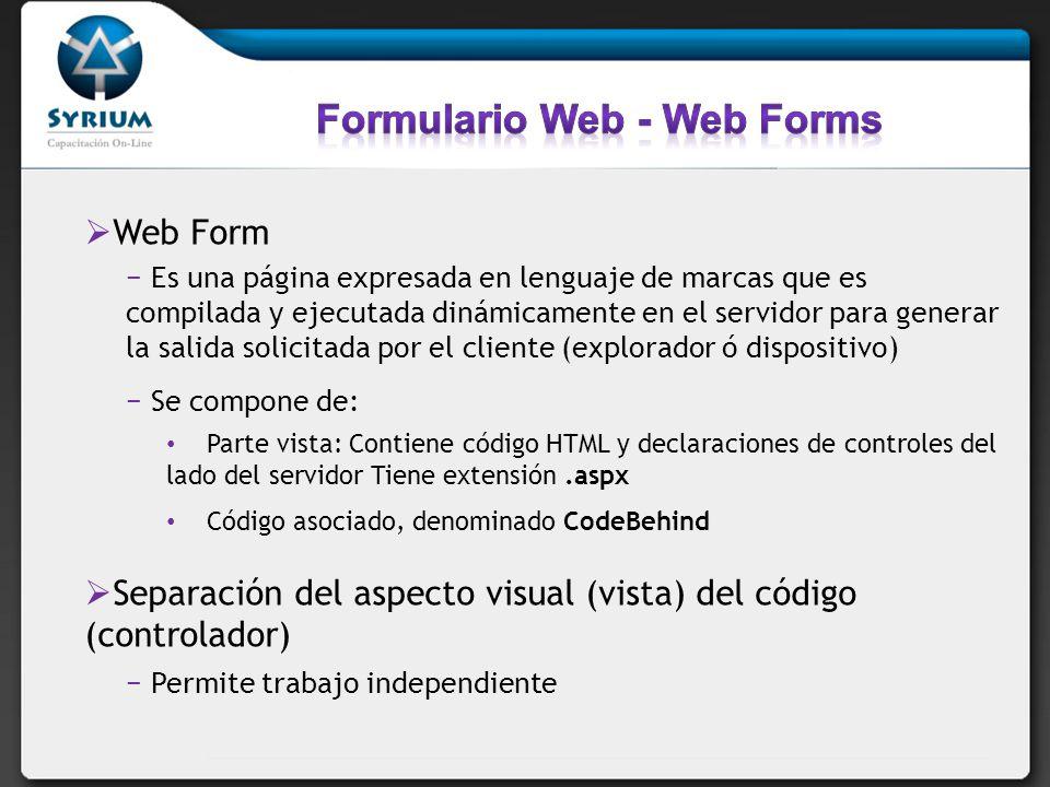 Formulario Web - Web Forms