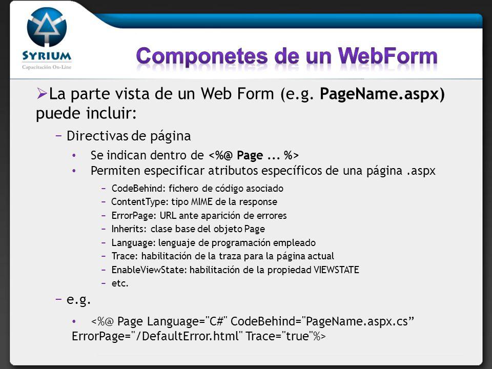 Componetes de un WebForm