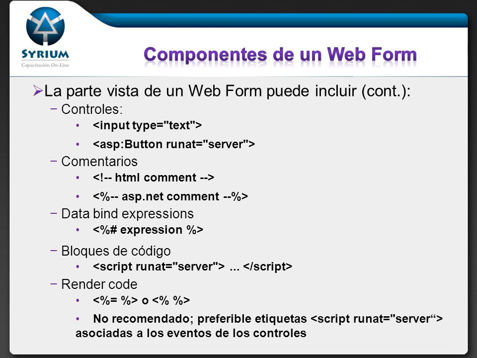 Componentes de un Web Form