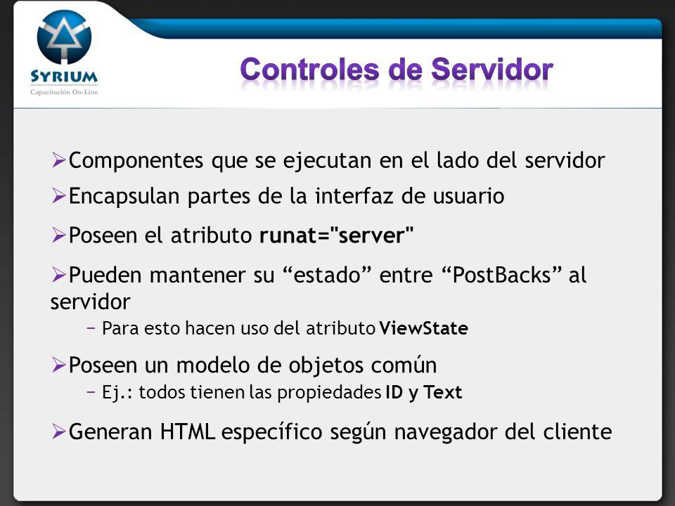 Controles de Servidor Componentes que se ejecutan en el lado del servidor. Encapsulan partes de la interfaz de usuario.