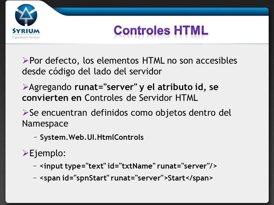Controles HTML Por defecto, los elementos HTML no son accesibles desde código del lado del servidor.