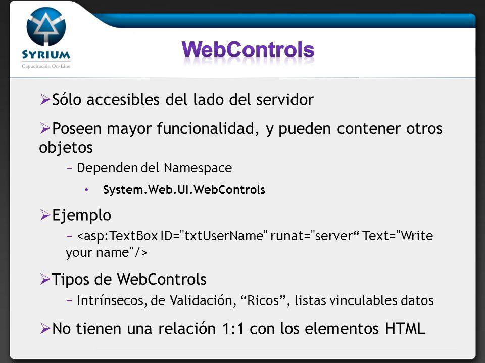 WebControls Sólo accesibles del lado del servidor