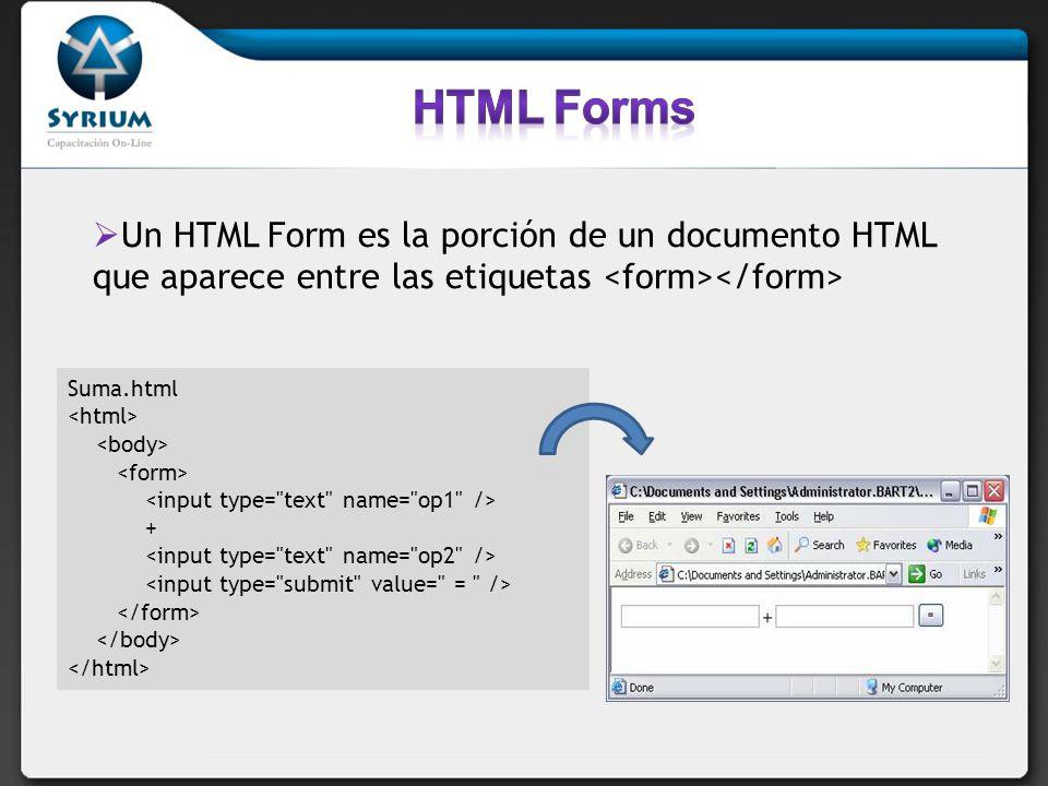 HTML Forms Un HTML Form es la porción de un documento HTML que aparece entre las etiquetas <form></form>