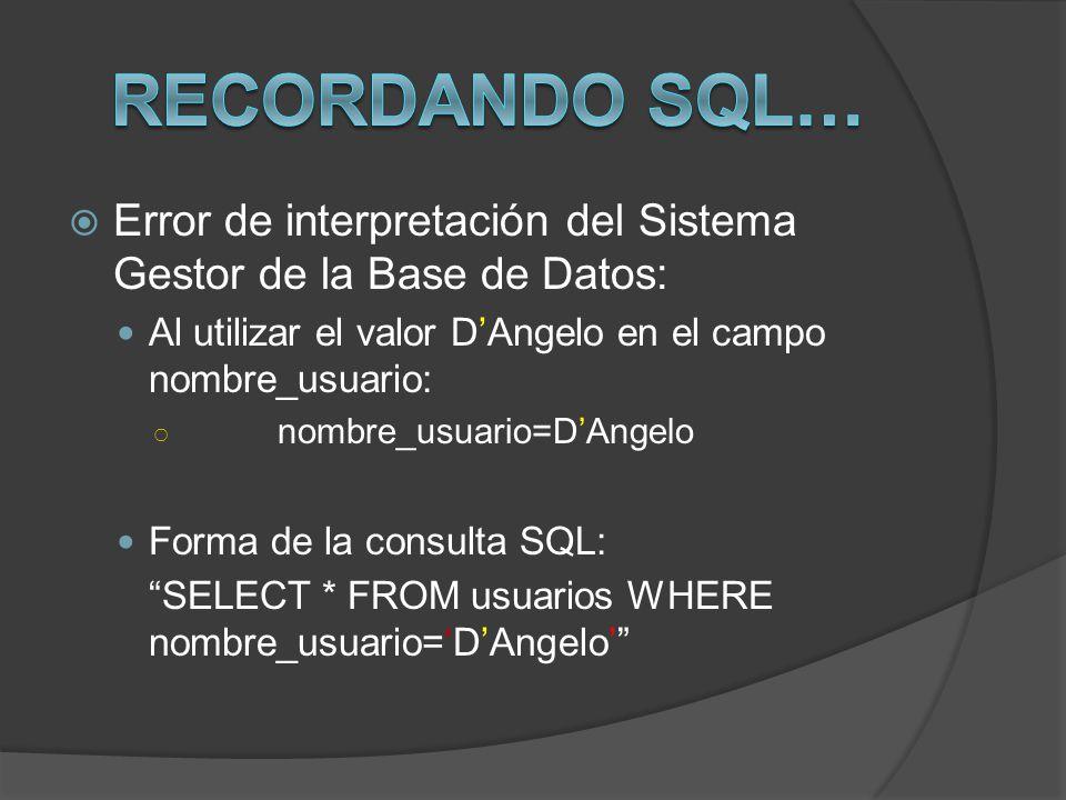 Recordando SQL… Error de interpretación del Sistema Gestor de la Base de Datos: Al utilizar el valor D'Angelo en el campo nombre_usuario: