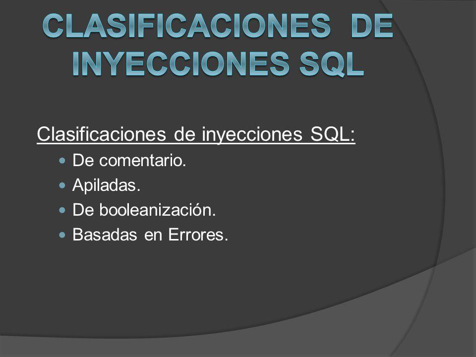 Clasificaciones de Inyecciones SQL