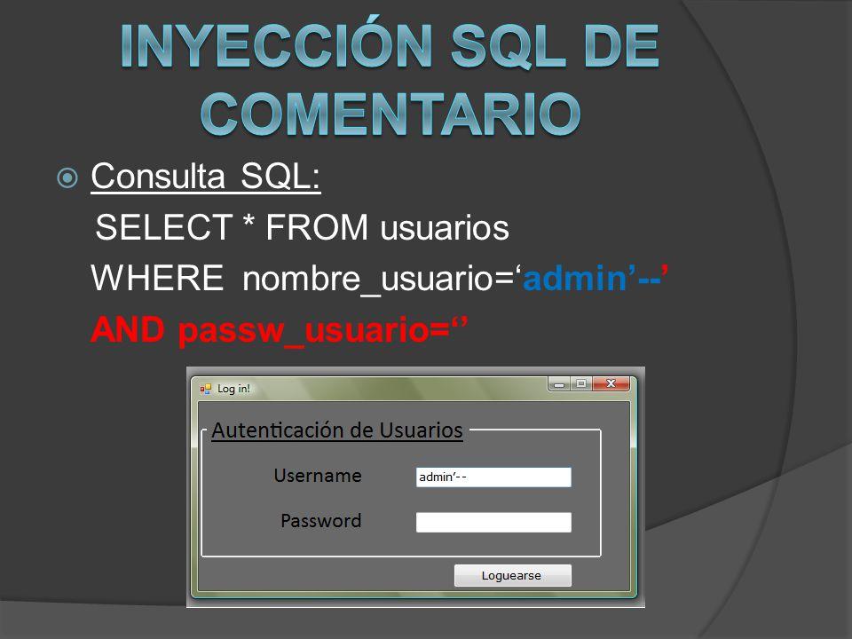 INYECCIÓN SQL DE COMENTARIO