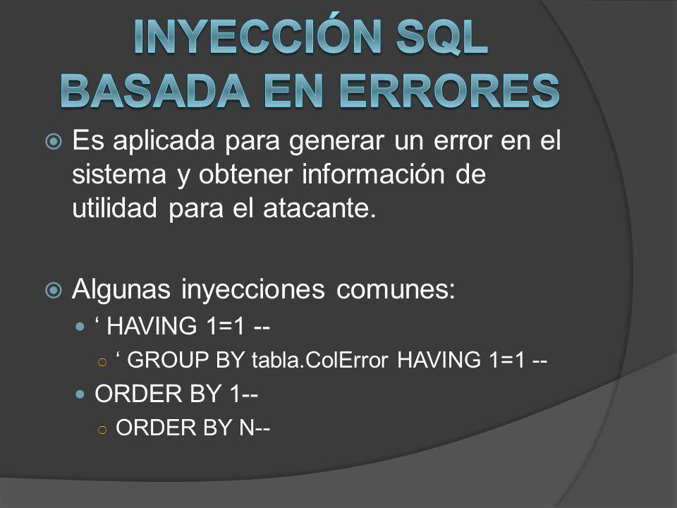 Inyección SQL basada en errores