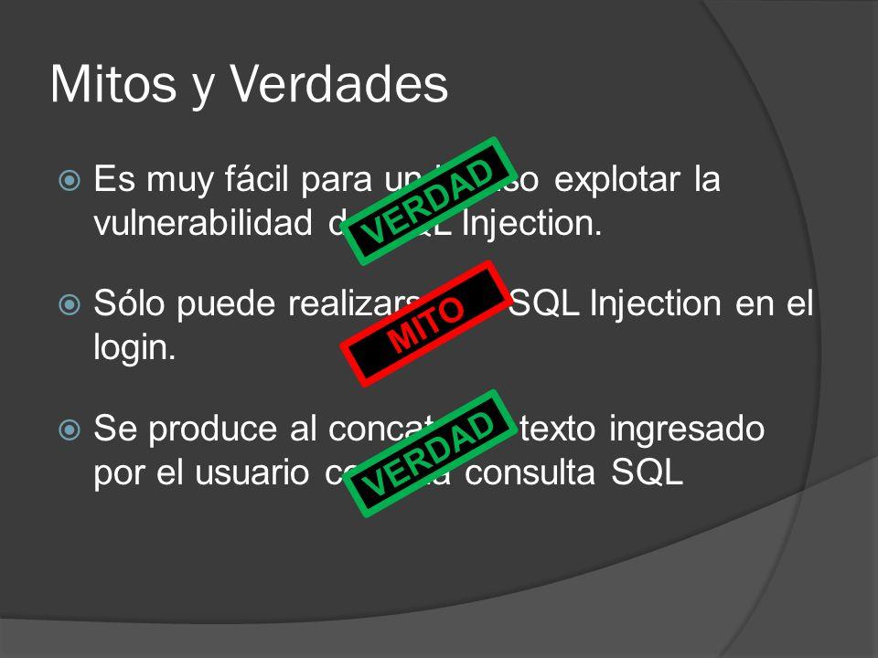 Mitos y Verdades Es muy fácil para un intruso explotar la vulnerabilidad de SQL Injection. Sólo puede realizarse un SQL Injection en el login.