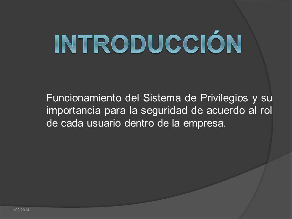 Introducción Funcionamiento del Sistema de Privilegios y su importancia para la seguridad de acuerdo al rol de cada usuario dentro de la empresa.