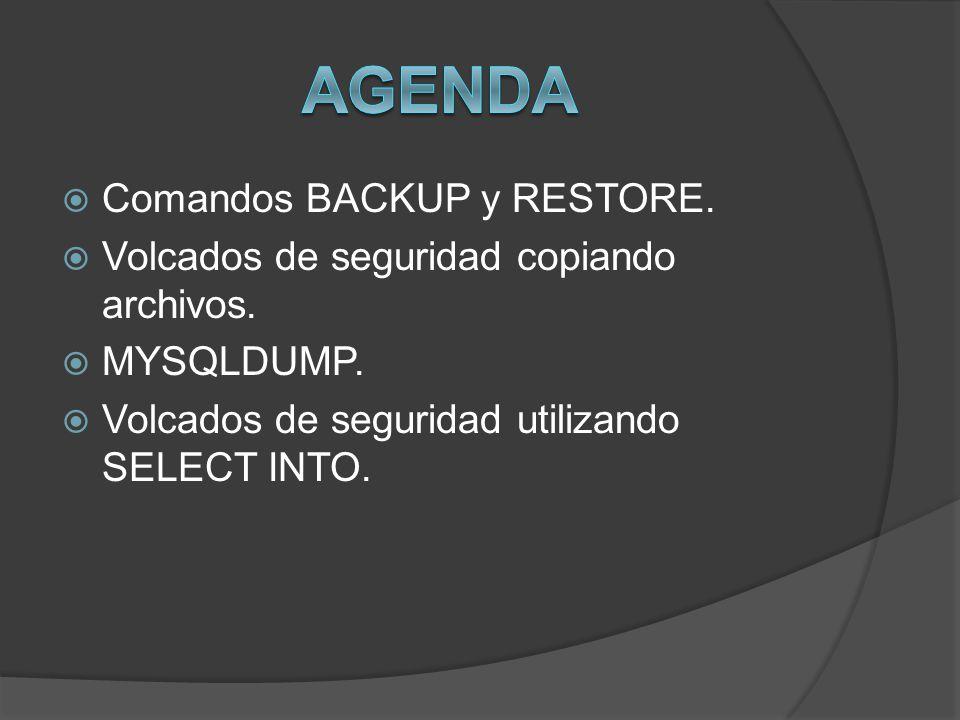 Agenda Comandos BACKUP y RESTORE.