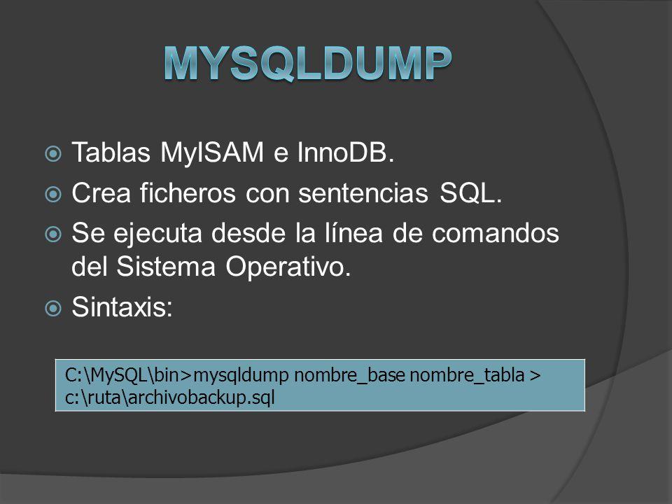 MySQLDump Tablas MyISAM e InnoDB. Crea ficheros con sentencias SQL.