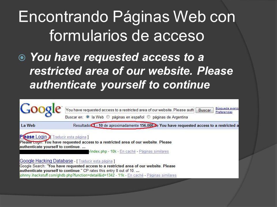 Encontrando Páginas Web con formularios de acceso