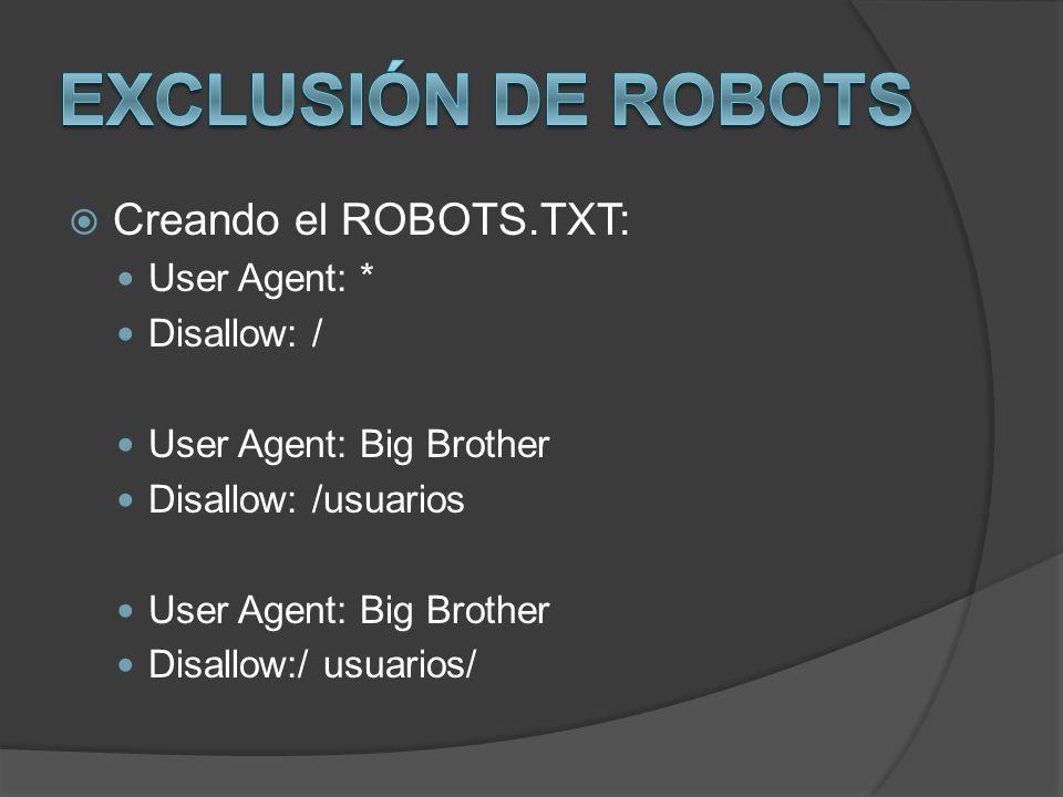 Exclusión de Robots Creando el ROBOTS.TXT: User Agent: * Disallow: /