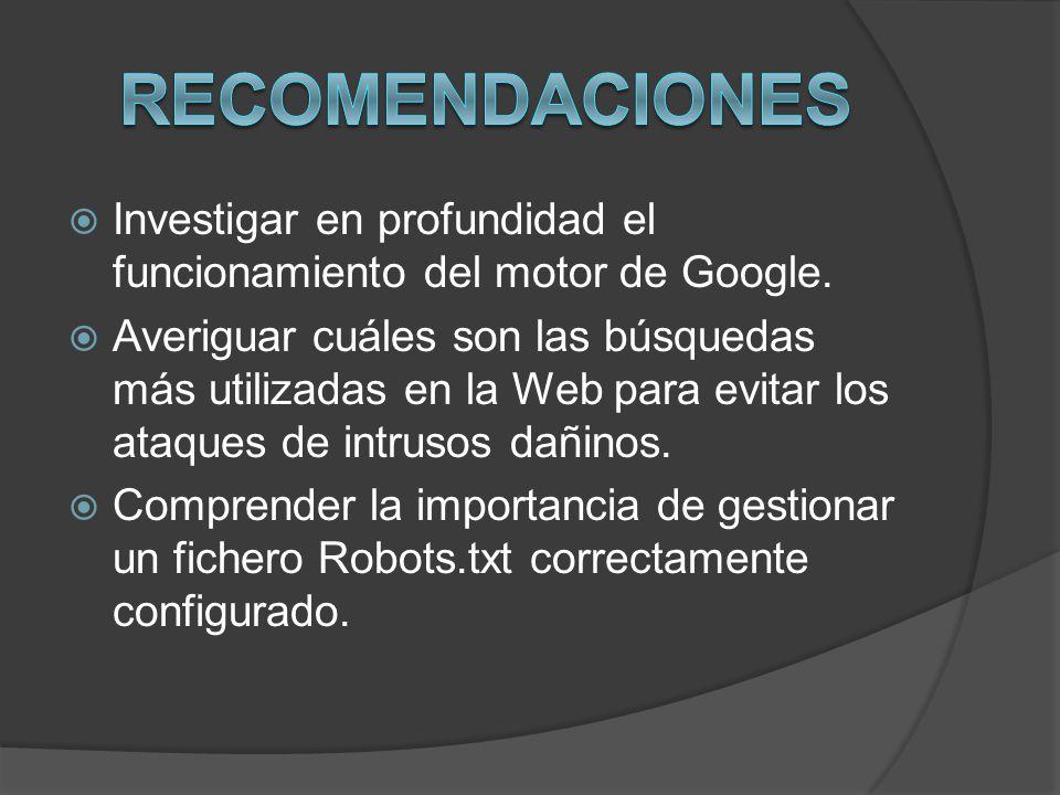 Recomendaciones Investigar en profundidad el funcionamiento del motor de Google.