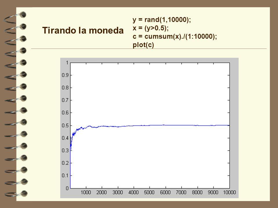 Tirando la moneda y = rand(1,10000); x = (y>0.5);