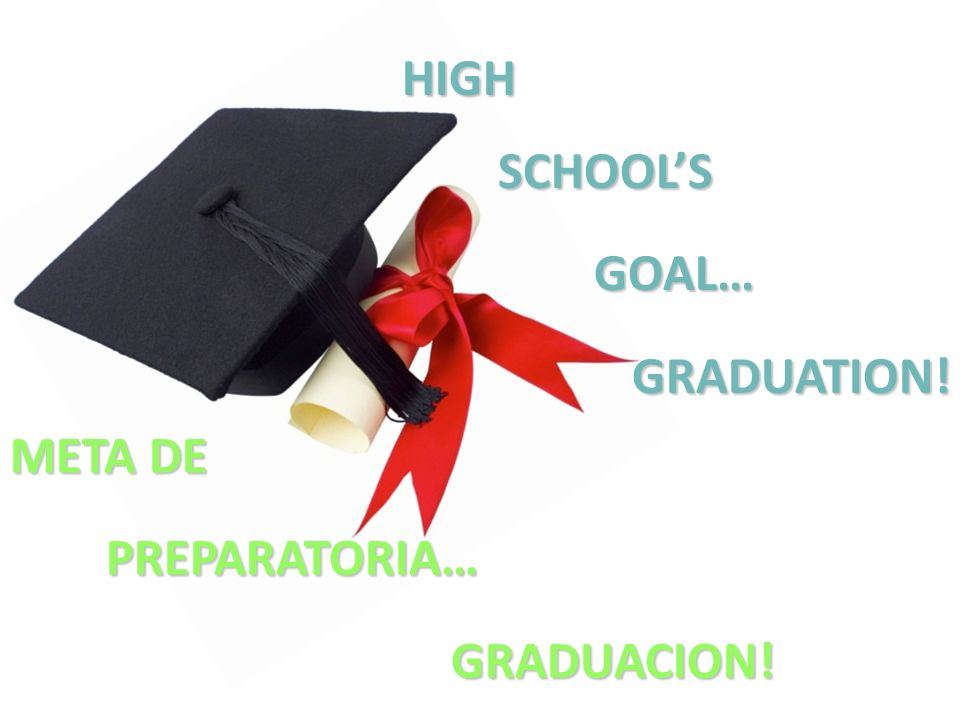HIGH SCHOOL'S GOAL… GRADUATION! META DE PREPARATORIA… GRADUACION!