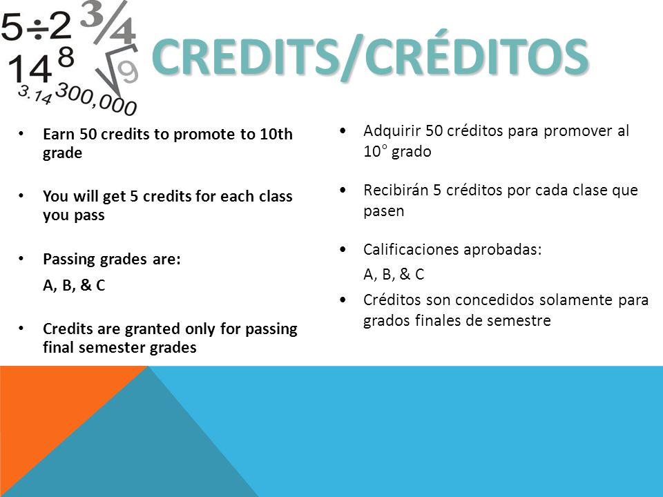 CREDITS/CRÉDITOS Adquirir 50 créditos para promover al 10° grado