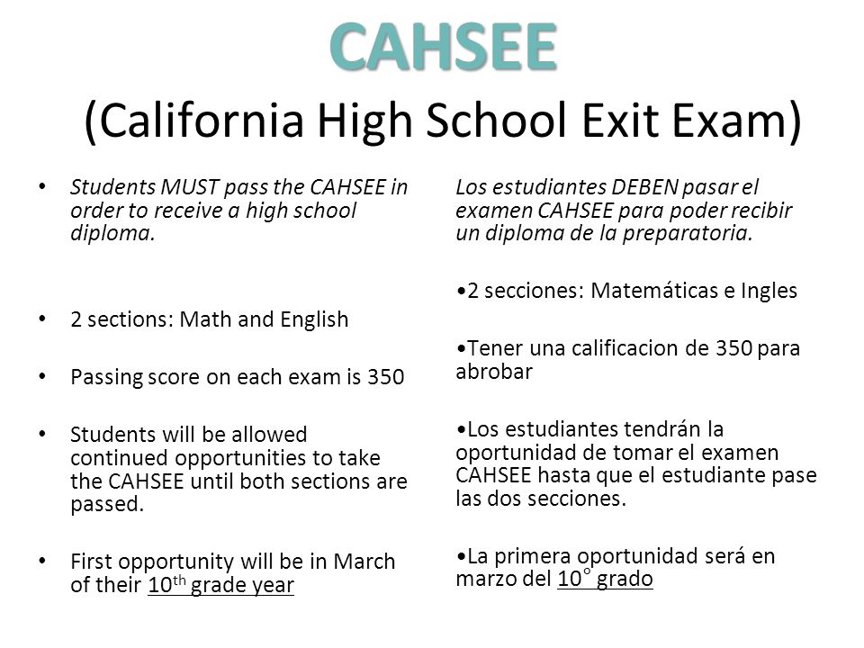 CAHSEE (California High School Exit Exam)