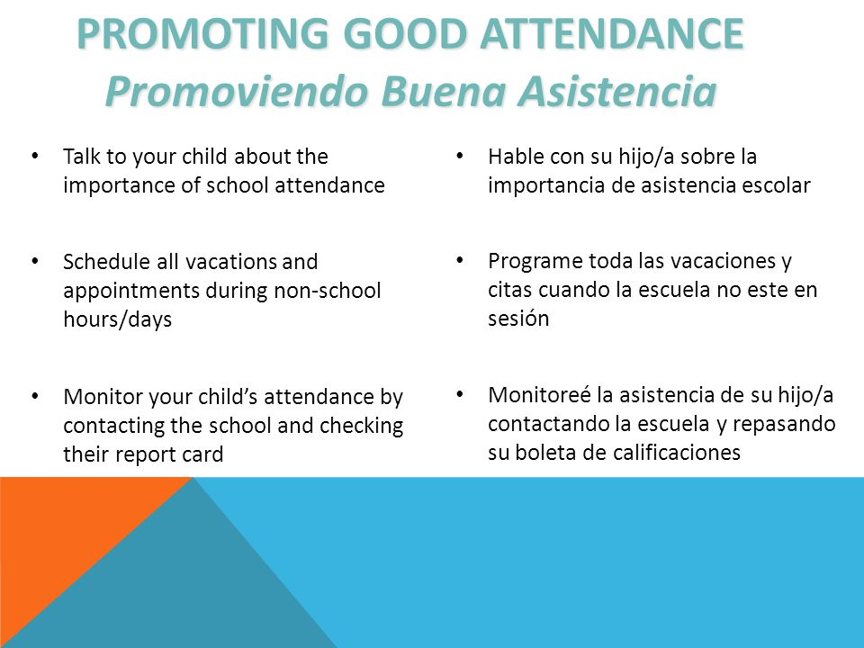PROMOTING GOOD ATTENDANCE Promoviendo Buena Asistencia