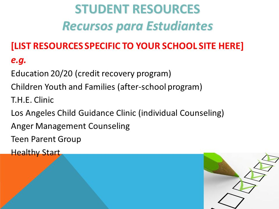 STUDENT RESOURCES Recursos para Estudiantes