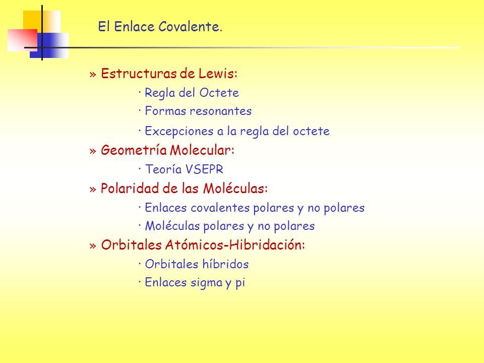 El Enlace Covalente. » Estructuras de Lewis: · Regla del Octete