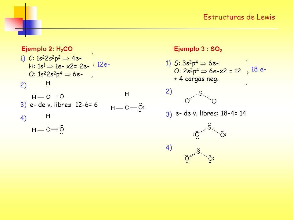 Estructuras de Lewis 2) Ejemplo 2: H2CO C: 1s22s2p2  4e-
