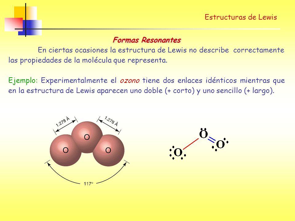 Estructuras de Lewis Formas Resonantes