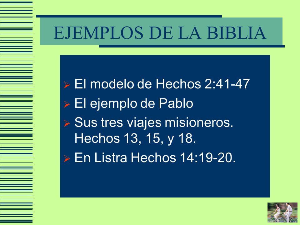 EJEMPLOS DE LA BIBLIA El modelo de Hechos 2:41-47 El ejemplo de Pablo