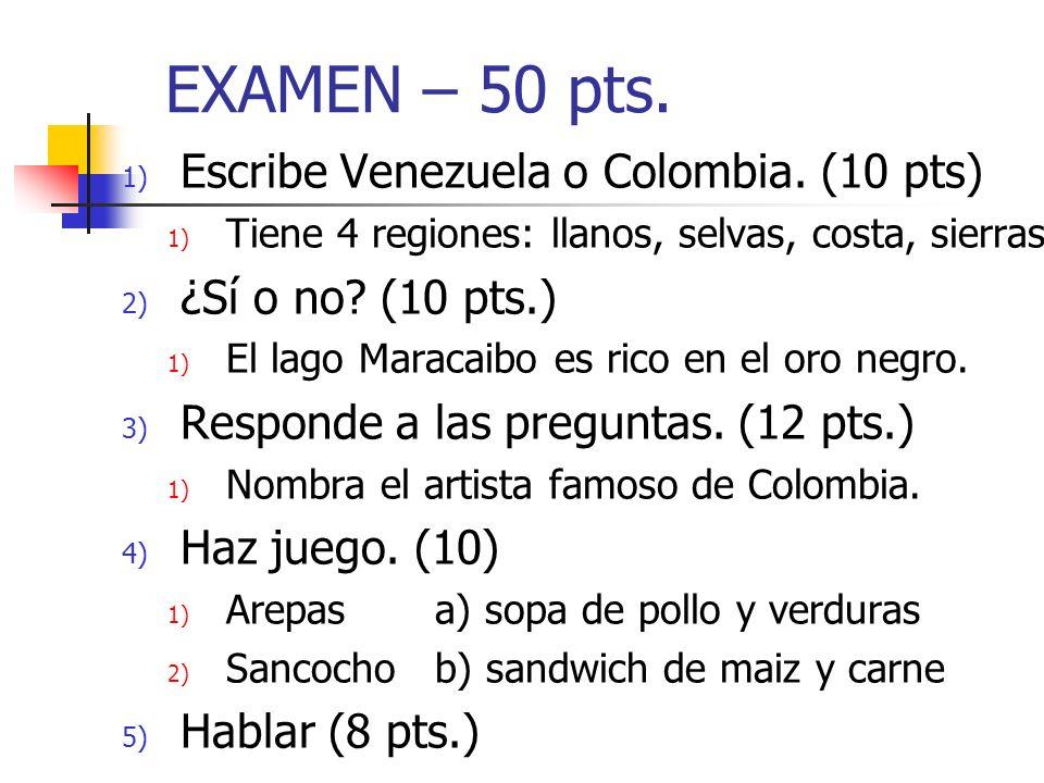 EXAMEN – 50 pts. Escribe Venezuela o Colombia. (10 pts)