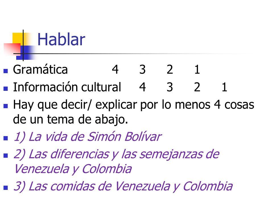 Hablar Gramática 4 3 2 1 Información cultural 4 3 2 1