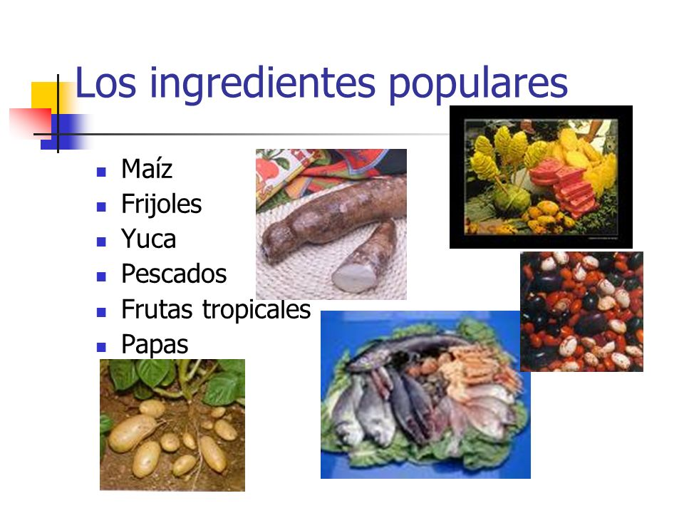 Los ingredientes populares