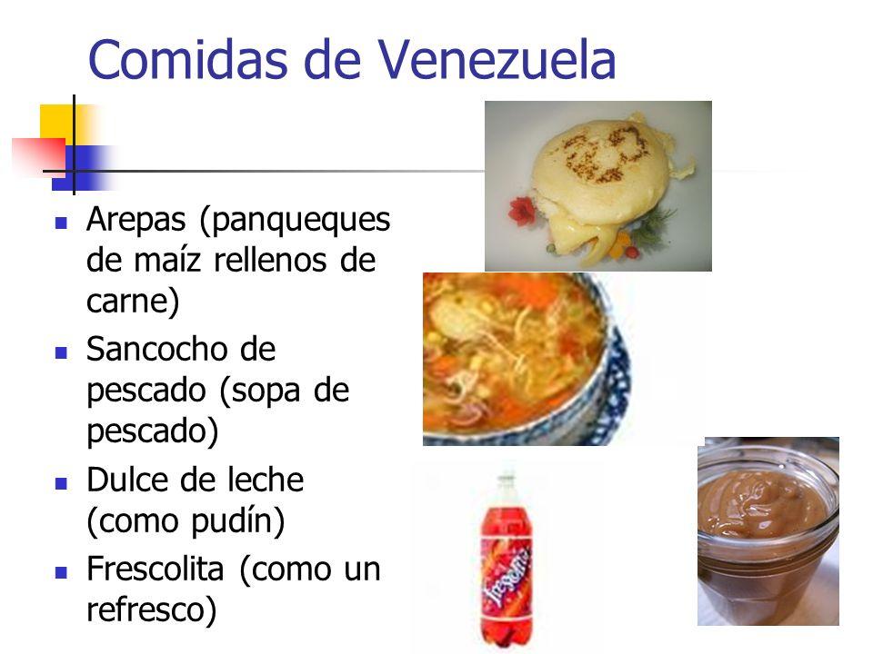 Comidas de Venezuela Arepas (panqueques de maíz rellenos de carne)