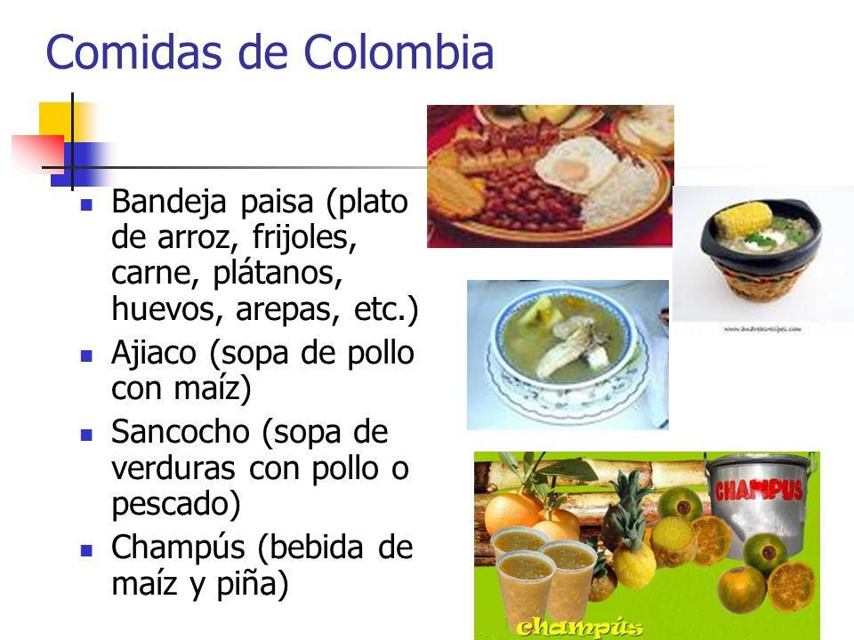 Comidas de Colombia Bandeja paisa (plato de arroz, frijoles, carne, plátanos, huevos, arepas, etc.)