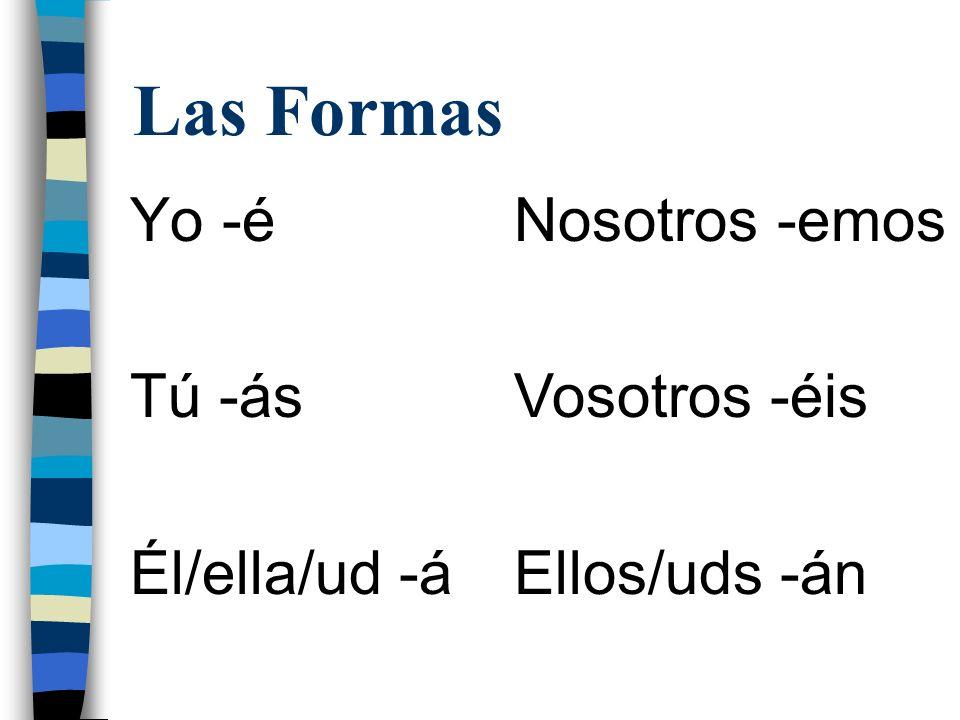 Las Formas Yo -é Tú -ás Él/ella/ud -á Nosotros -emos Vosotros -éis