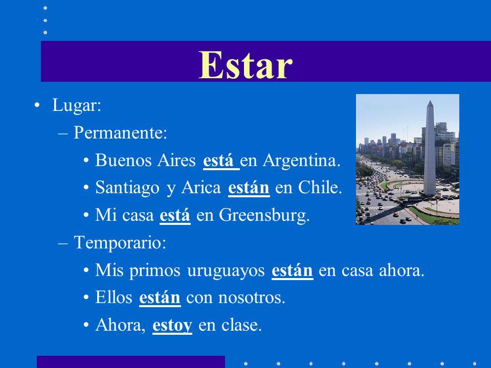 Estar Lugar: Permanente: Buenos Aires está en Argentina.