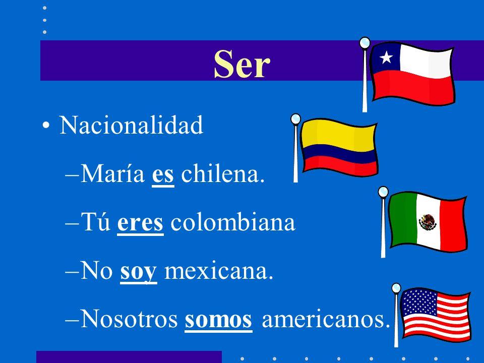 Ser Nacionalidad María es chilena. Tú eres colombiana No soy mexicana.