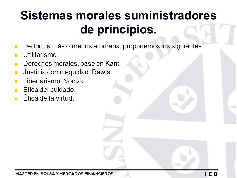 Sistemas morales suministradores de principios.