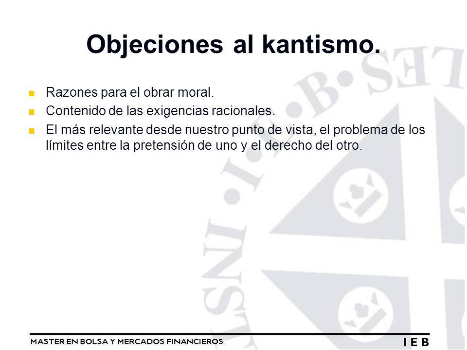 Objeciones al kantismo.