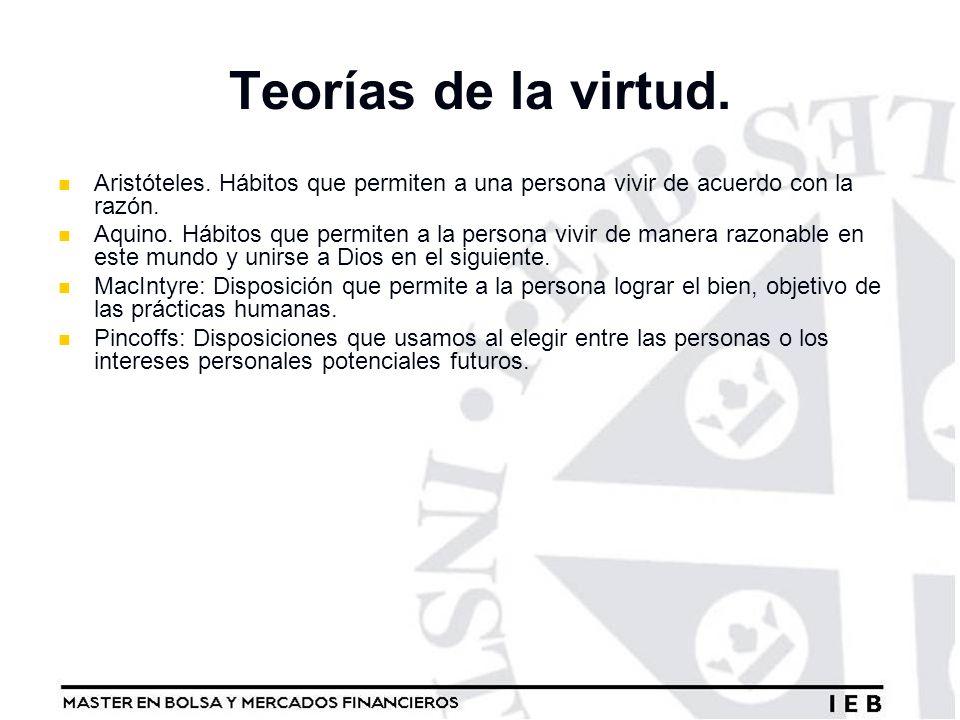 Teorías de la virtud. Aristóteles. Hábitos que permiten a una persona vivir de acuerdo con la razón.