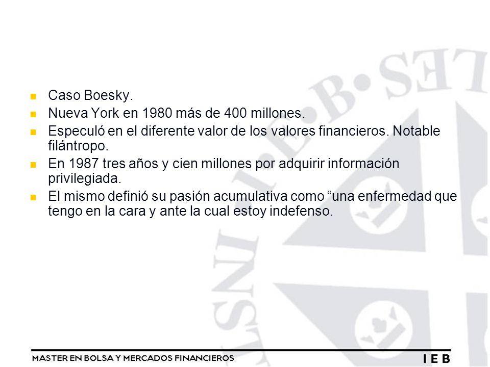 Caso Boesky. Nueva York en 1980 más de 400 millones. Especuló en el diferente valor de los valores financieros. Notable filántropo.