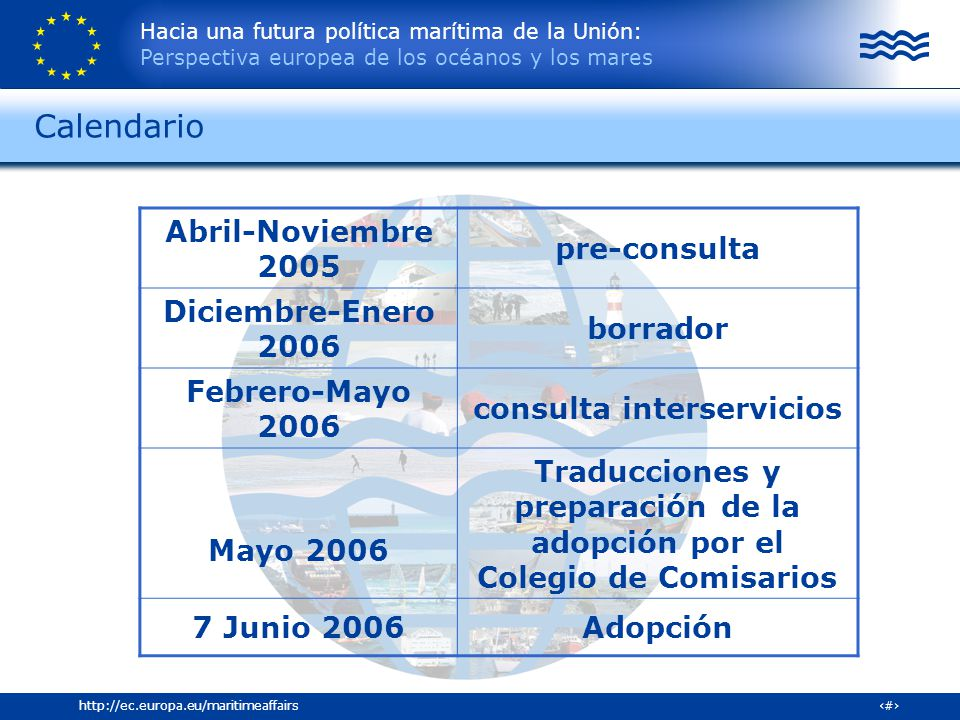 Calendario Abril-Noviembre 2005 pre-consulta Diciembre-Enero 2006