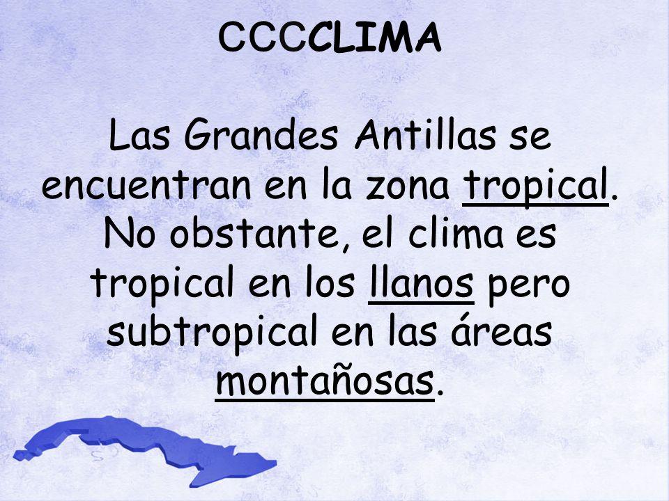 CCCCLIMA Las Grandes Antillas se encuentran en la zona tropical