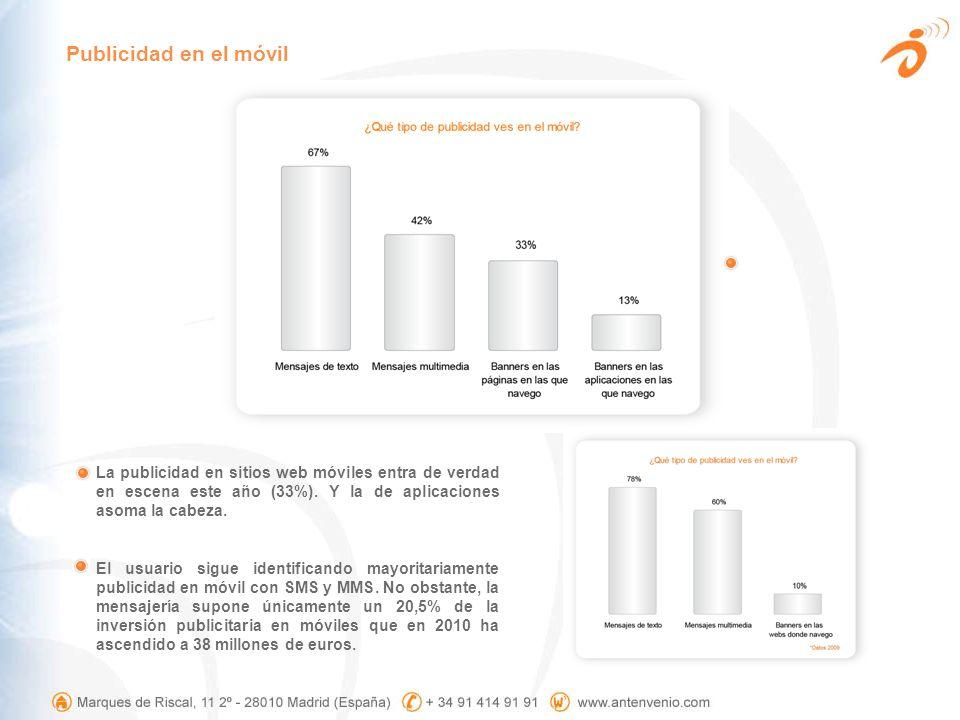 Publicidad en el móvil La publicidad en sitios web móviles entra de verdad en escena este año (33%). Y la de aplicaciones asoma la cabeza.