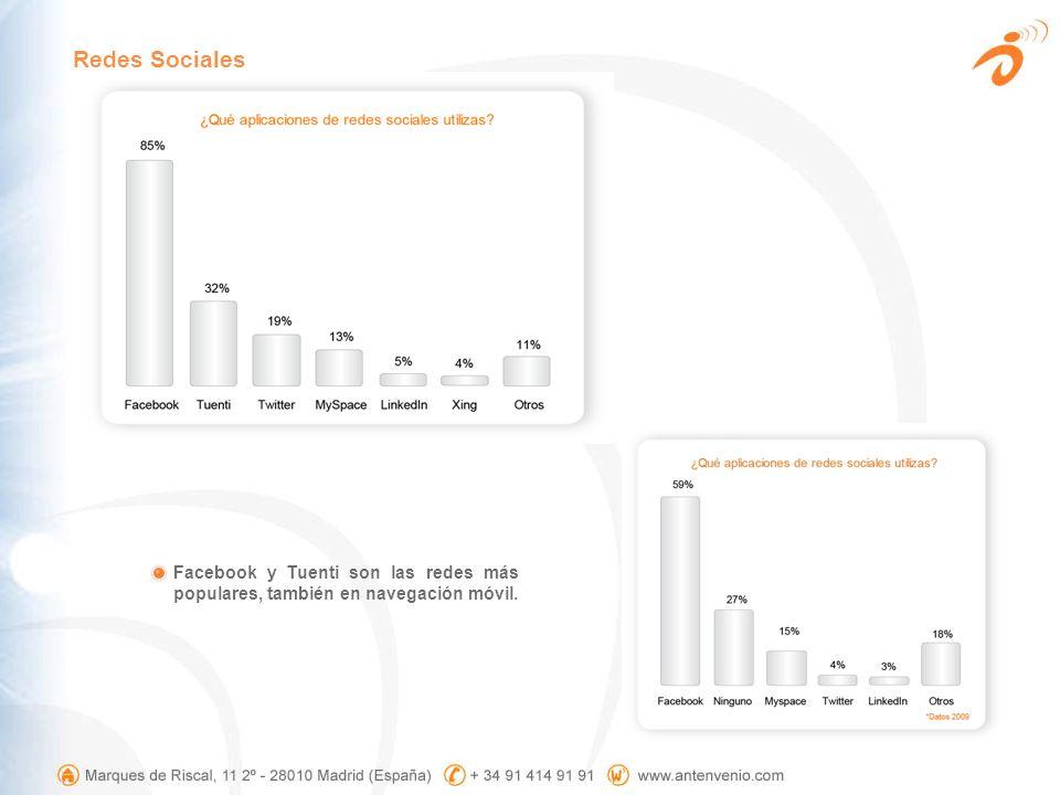 Redes Sociales Facebook y Tuenti son las redes más populares, también en navegación móvil.